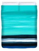Aqua Sky - Bold Abstract Landscape Art Duvet Cover by Sharon Cummings