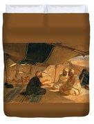 Arabs In The Desert Duvet Cover by Frederick Goodall