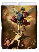 Archangel Michael Overthrows The Rebel Angel Duvet Cover by Luca Giordano