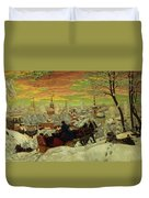 Arriving For The Holidays Duvet Cover by Boris Mihajlovic Kustodiev