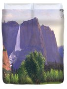 Mountains Waterfall Stream Western Mountain Landscape Oil Painting Duvet Cover by Walt Curlee