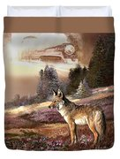 Encounter With The Iron Hors  Duvet Cover by Regina Femrite