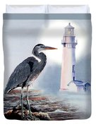 Blue Heron In The Circle Of Light Duvet Cover by Gina Femrite