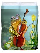 Humorous Scene Frog Playing Cello In Lily Pond Duvet Cover by Gina Femrite