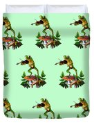 Humorous Tree Frog Playing A Fiddle Duvet Cover by Regina Femrite