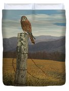 Smoky Mountain Hunter-american Kestrel Duvet Cover by James Willoughby III