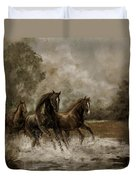 Horse Painting Escaping the Storm Duvet Cover by Gina Femrite