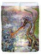 Knights N Dragons Duvet Cover by Kevin Middleton