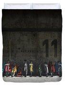 Bike Rack Duvet Cover by Cynthia Decker