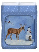 Whose Carrot Seasons Greeting Duvet Cover by Crista Forest
