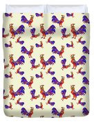 Red Rooster Art Duvet Cover by Christina Rollo
