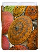 Asian Umbrellas Duvet Cover by Michele Burgess