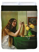 At The Dressing Table Duvet Cover by Felix Edouard Vallotton