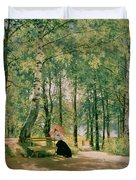At The Summer Cottage Duvet Cover by Ivan Ivanovich Shishkin