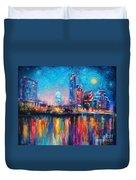 Austin Art Impressionistic Skyline Painting #2 Duvet Cover by Svetlana Novikova