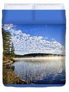 Autumn Lake Shore With Fog Duvet Cover by Elena Elisseeva