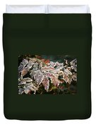 Autumn Leaves In A Frozen Winter World Duvet Cover by Christine Till