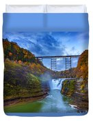 Autumn Morning At Upper Falls Duvet Cover by Rick Berk