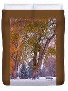Autumn Snow Park Bench   Duvet Cover by James BO  Insogna