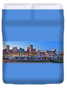 Baltimore Skyline Inner Harbor Panorama At Dusk Duvet Cover by Jon Holiday
