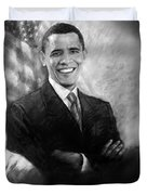 Barack Obama Martin Luther King Jr and Malcolm X Duvet Cover by Ylli Haruni