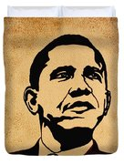 Barack Obama original coffee painting Duvet Cover by Georgeta  Blanaru