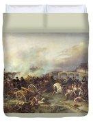 Battle Of Montereau Duvet Cover by Jean Charles Langlois