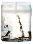Battle Of The Monitor And Merrimack Duvet Cover by War Is Hell Store