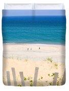 beach fence and ocean Cape Cod Duvet Cover by Matt Suess