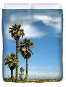 Beach View With Palms And Birds Duvet Cover by Ben and Raisa Gertsberg
