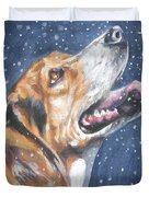 Beagle in snow Duvet Cover by L AShepard