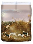 Beagles In Full Cry Duvet Cover by John Dalby
