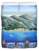 Bellagio From The Cafe Duvet Cover by Marilyn Dunlap
