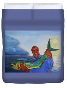 Ben And The Dolphin Fish Duvet Cover by Kathy Braud