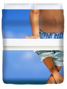 Bench By The Ocean Duvet Cover by Dana Edmunds - Printscapes
