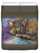 Bengal Cat Watercolor Art Painting Duvet Cover by Svetlana Novikova