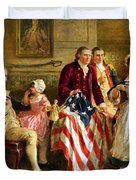 Betsy Ross And General George Washington Duvet Cover by War Is Hell Store