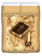 Bible And Candle Duvet Cover by Michael Vigliotti