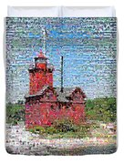 Big Red Photomosaic Duvet Cover by Michelle Calkins
