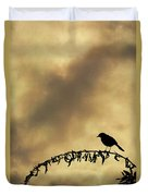 Bird On Branch Montage Duvet Cover by Dave Gordon