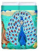 Bird People Peacock King And Peahen Duvet Cover by Sushila Burgess