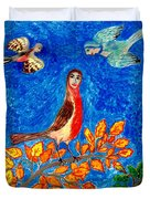 Bird People Robin Duvet Cover by Sushila Burgess