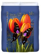 Black And Pink Butterfly Duvet Cover by Garry Gay