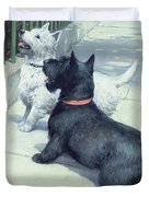 Black and White Dogs Duvet Cover by Septimus Edwin Scott