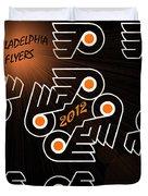 Bleeding Orange And Black - Flyers Duvet Cover by Trish Tritz