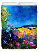 Blue And Pink Flowers Duvet Cover by Pol Ledent