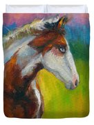 Blue-eyed Paint Horse oil painting print Duvet Cover by Svetlana Novikova