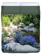 Blue Flowers And Stream Duvet Cover by Corey Ford