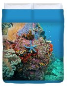 Blue Starfish On Coral Reef, Raja Duvet Cover by Beverly Factor