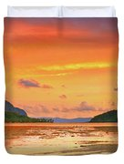 Boat At Sunset Duvet Cover by MotHaiBaPhoto Prints